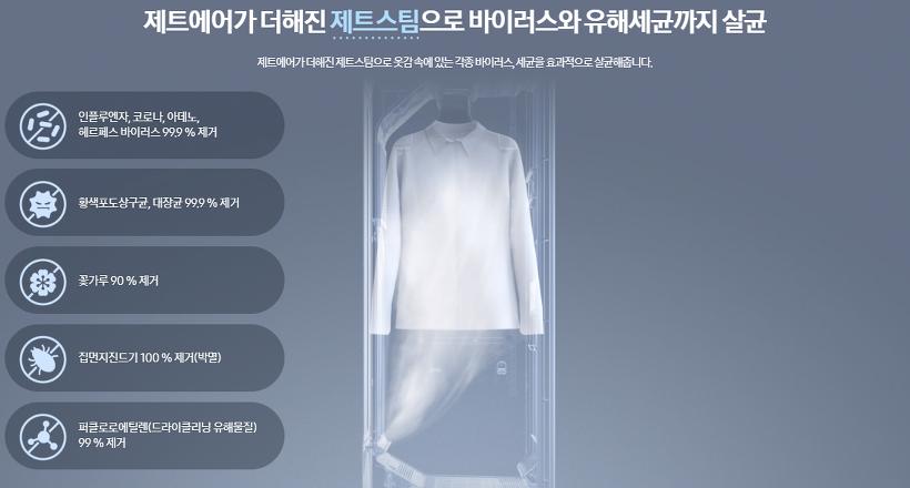 hệ thống bơm hơi nước phản lực mạnh mẽ từ máy giặt hấp sấy Samsung